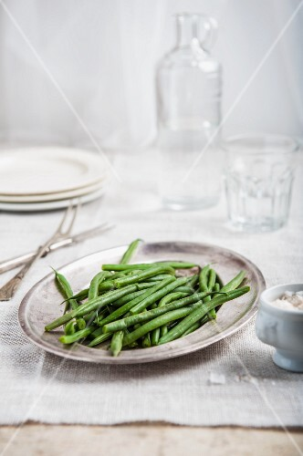 Green beans on a silver plate