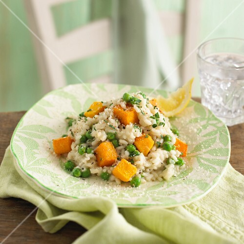 Risotto with peas and butternut squash