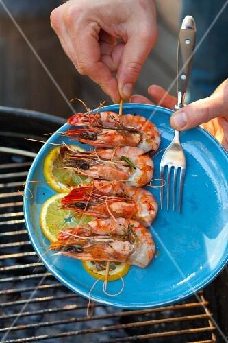 Grilled prawn skewer on a plate
