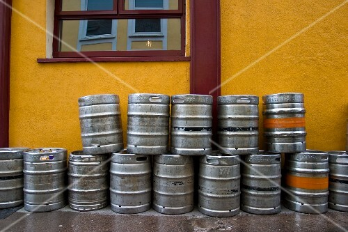 Many Empty Kegs outside of a Bar in Dublin