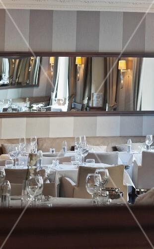 Laid tables in an elegant restaurant