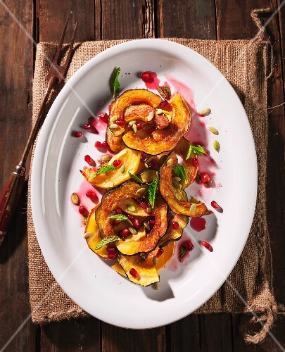 Baked Acorn Squash with Pomegranate
