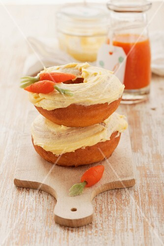 Carrot doughnuts with marzipan carrots