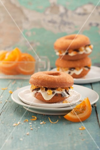 Siciliana doughnuts with candied oranges and ricotta cream