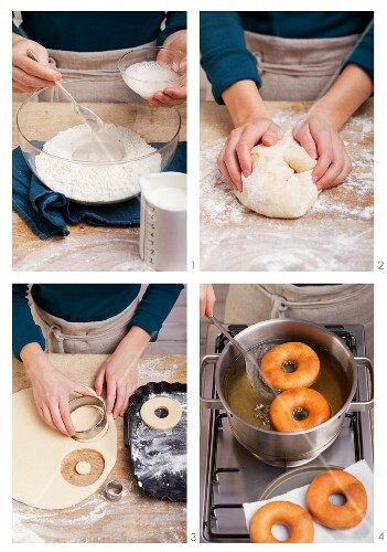 Doughnuts being made from yeast dough