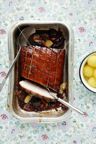 Asian roast pork with chilli (view from above)