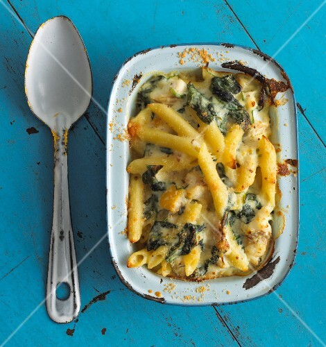 Pasta bake made with penne, haddock and spinach (view from above)