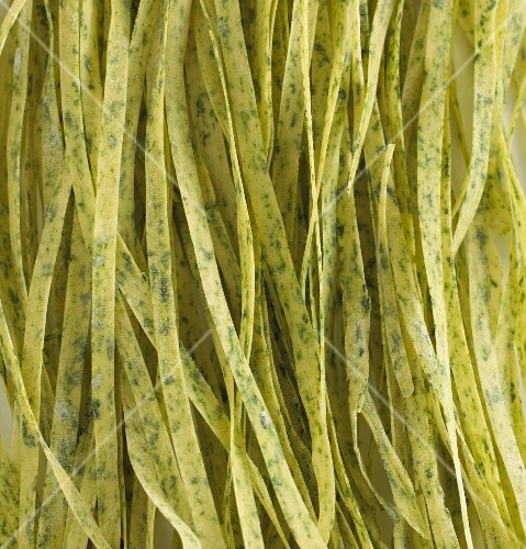 Home-made fresh spinach tagliatelle