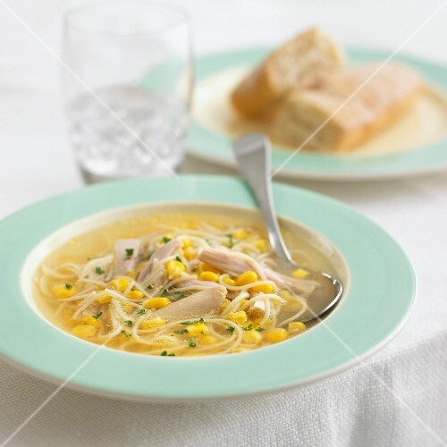 Chicken noodle soup with sweetcorn