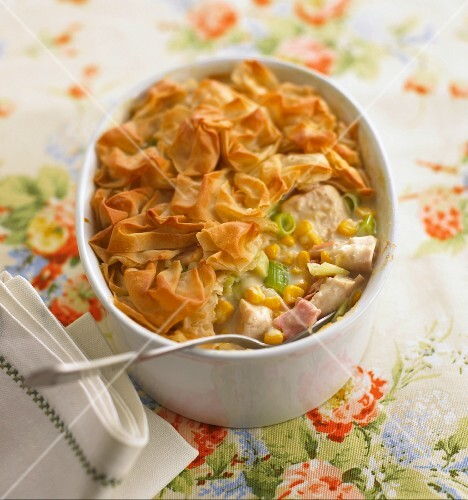 Chicken pie with leek, sweetcorn and a filo pastry lid