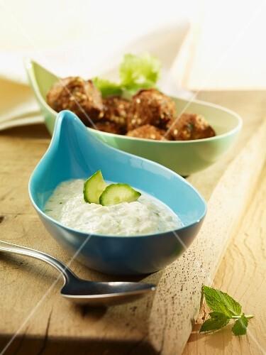 Oriental meatballs with cucumber yoghurt