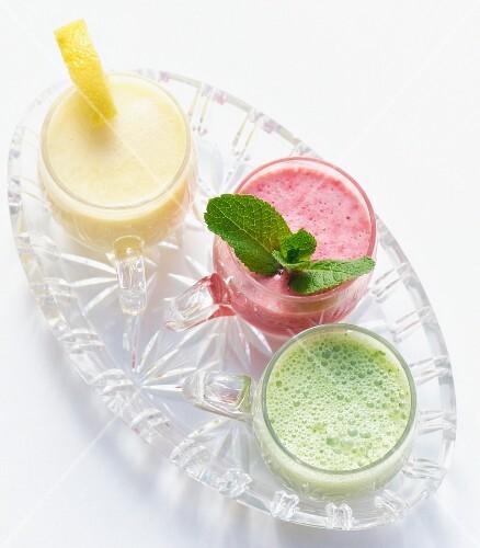 Berry lassi, mango lassi and herb lassi