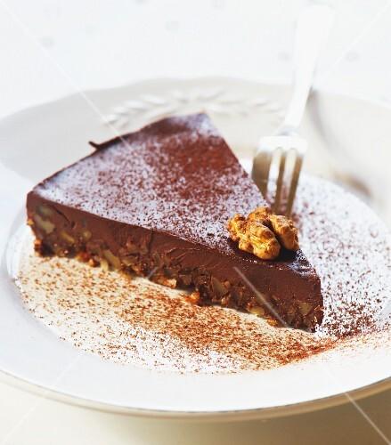 Chocolate and walnut tart