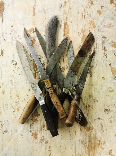 Assorted old kitchen knives