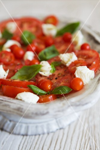 Caprese Salad with a Variety of Tomatoes, Mozzarella and Basil