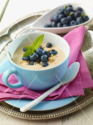 Cappuccino dessert with blueberries