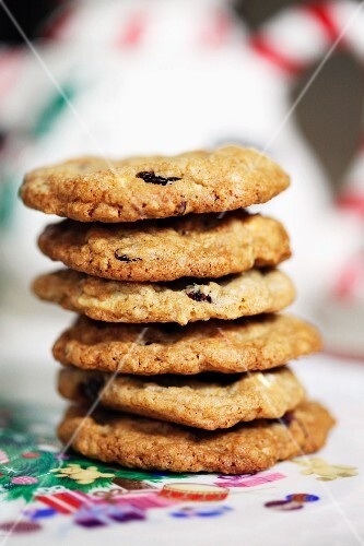 Stack of oatmeal cookies with cranberries and white chocolate