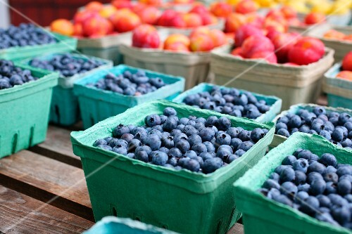 Containers of freshly picked blueberries at a farm stand