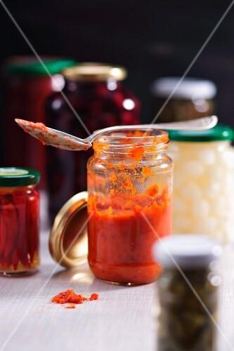 Ajvar and a range of jars