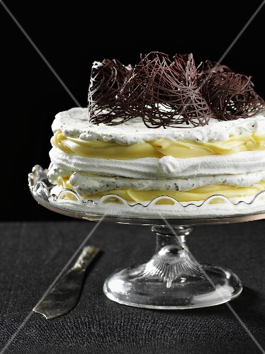Meringue layer cake decorated with chocolate nests