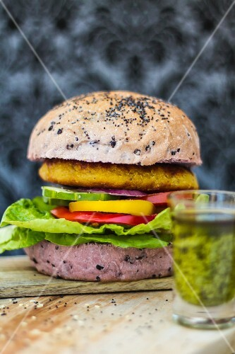 Lentil burger in a roll made from rice flour
