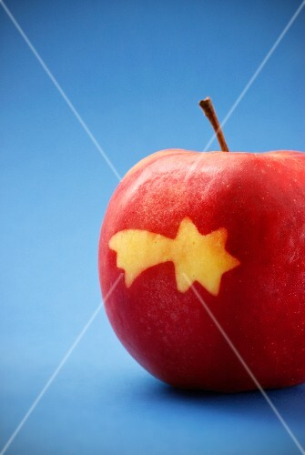 A red apple with a shooting star