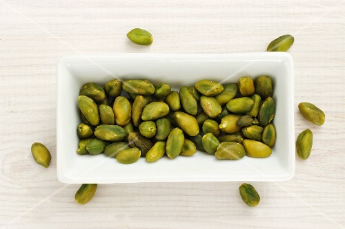 Shelled pistachios in a bowl