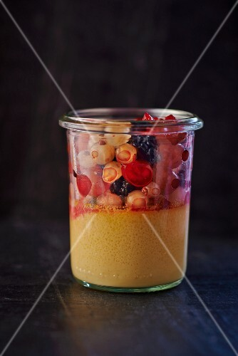 Calissons dessert with berries in a glass