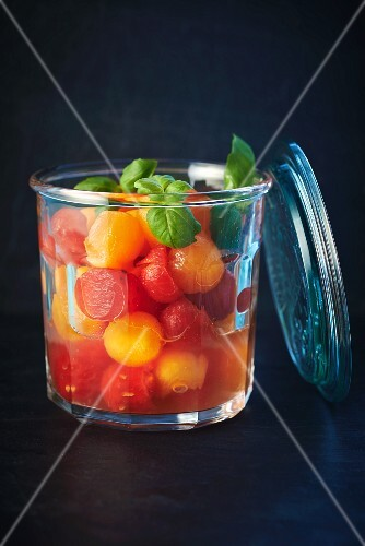 Preserved melon balls with basil
