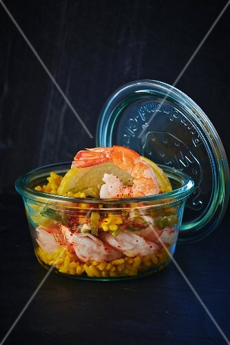 Risotto with prawns in a jar