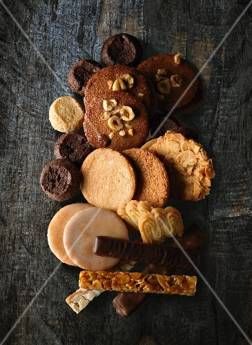 Assorted biscuits and sweet bars