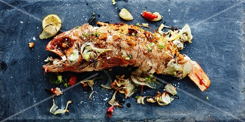 Deep-fried rose fish with lemon, chillies and fennel