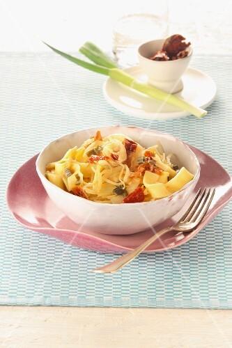 Ribbon pasta with sauerkraut and bacon