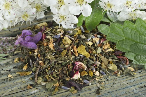 Mix for herbal tea with mistletoe, hawthorn leaves, stinging nettle, valerian, hibiscus flowers and lavender