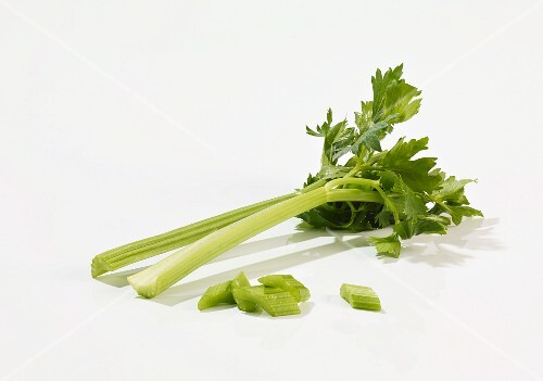 Celery, whole and sliced