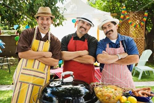 Men barbecuing