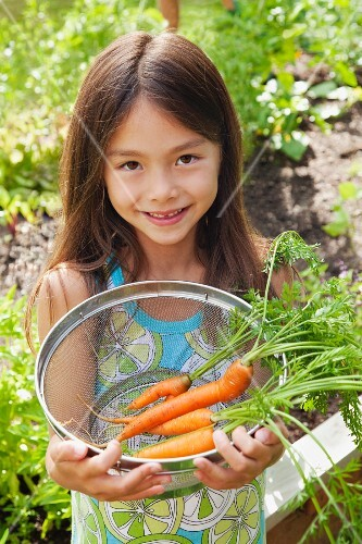 Mixed race girl holding carrots