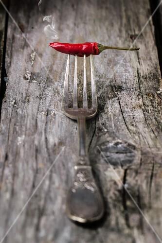 Rauchende Chilischote auf Silbergabel auf Holzuntergrund
