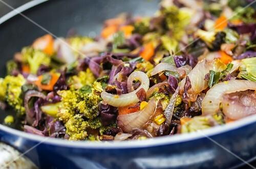 Some vegetables in skillet