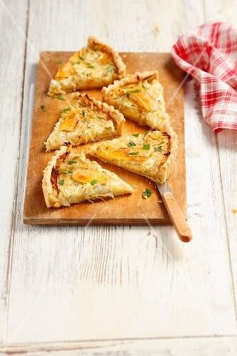Camembert and caramelised onion tart