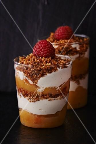 Apple trifle with raspberries