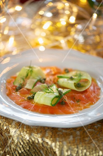 Smoked salmon and cucumber salad with dill and a caper sauce