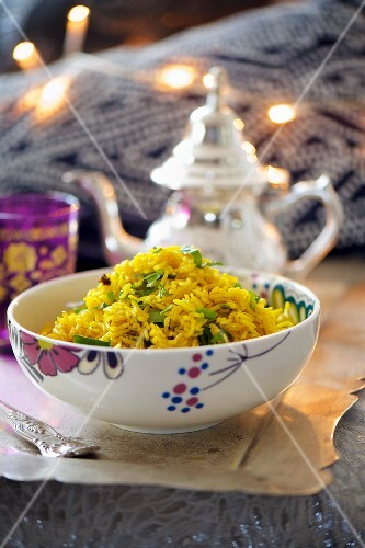Pilau rice (oriental rice dish) with coriander