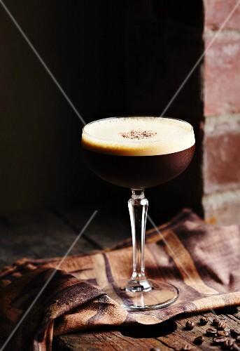 Espresso martini in a glass with a stem