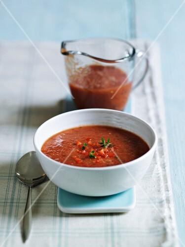 Gazpacho in a soup bowl