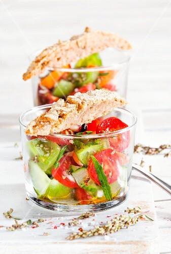 Tomato salad with mugwort