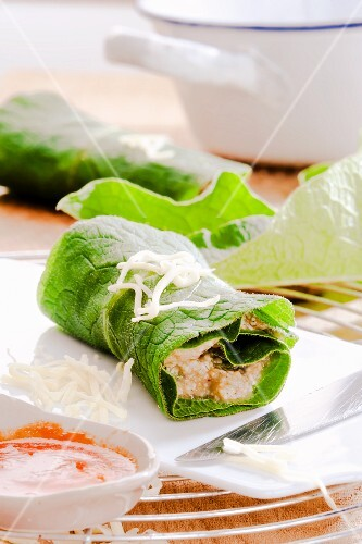 Rolled comfrey with freekeh filling (uncooked)