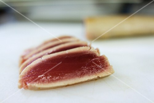 A few slices of seared tuna