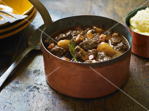 Boeuf Bourguignon Cooking in a Pot (Beef Burgundy)