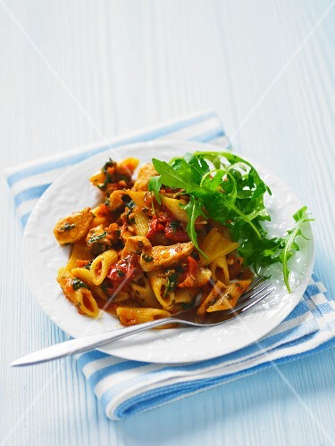 Penne with Chicken and Sundried Tomatoes in a White Bowl